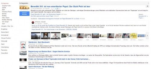 Screenshot von Google News